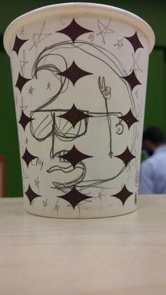 Art on Cups, bardakta çizim, crazy moon. Kafadar ay.