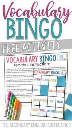 Vocabulary Bingo can be used to reinforce learned words. This activity can be modified with words that have been introduced previously. New Vocabulary Words, Vocabulary Strategies, Vocabulary Instruction, Teaching Vocabulary, Vocabulary Activities, Reading Strategies, Teaching Reading, Teaching Resources, Teaching Ideas