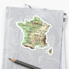 """FRANCE detailed physical map topographic map of FRANCE with Capitals and Major Lakes and Rivers"" Sticker by mashmosh France Map, Topographic Map, Canvas Prints, Art Prints, Rivers, Lakes, Physics, Europe, Stickers"