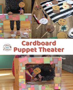 This cardboard puppet theater is the perfect mix of family fun time and independent activity. The kids loved creating it during quiet time Quiet Time Activities, Creative Activities For Kids, Kids Learning Activities, Creative Kids, Arts And Crafts Projects, Imaginative Play, Fun Time, Toddler Preschool, Some Fun