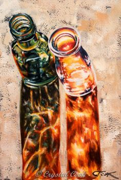 sunlit glass bottles watercolor painting by CrystalCookArt on Etsy, $100.00