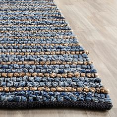 Safavieh Cape Cod Collection Hand Woven Blue and Natural Jute and Cotton Area Rug x Natural Fiber Rugs, Natural Area Rugs, Natural Rug, Cape Cod, Coastal Rugs, Coastal Living, Seagrass Rug, Denim Rug, Accent Rugs