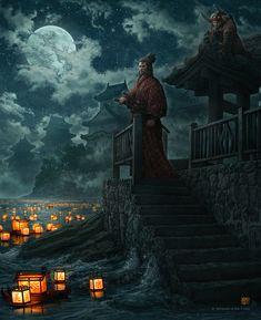 Lanterns and the Moon by kerembeyit.deviantart.com on @deviantART