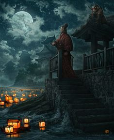 Lanterns and the Moon  by *kerembeyit  Digital Art / Paintings & Airbrushing / Miscellaneous©2012 *kerembeyit  Cover illustration for Dragon Issue #404 by D     ©1995-2011 Wizards of the Coast LLC    Note: I used reference for the lanterns and the samurai.