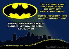 Batman themed birthday invitation & thank you card by Night Owl Custom Design on Etsy, $15.00