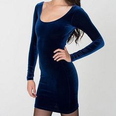 Dark blue velvet American Apparel dress Dark blue velvet long sleeve American Apparel mini dress. Size xs. Amazing dress for holiday parties. Only worn twice. American Apparel Dresses Mini