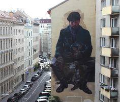 """Imperishable relics"", new mural by - Vienna, Austria - Oct 2015 Street Art Banksy, Murals Street Art, Street Art Photography, Land Art, Street Artists, Installation Art, Art Installations, Urban Art, Rue"