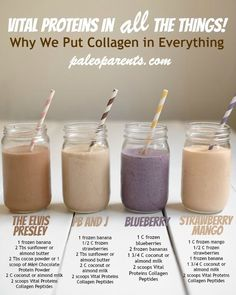 Why & How we put Vital Proteins gelatin and everything, PLUS four new smoothie r. - Why & How we put Vital Proteins gelatin and everything, PLUS four new smoothie recipes! Don't mis - Protein Shake Recipes, Easy Smoothie Recipes, Easy Smoothies, Healthy Protein Shakes, Smoothies With Dates, Arbonne Shake Recipes, Homemade Protein Shakes, Low Calorie Smoothies, Paleo Protein Powder