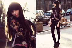 """OMG GORGEOUS  Love the blazer, it's amazing, look at the detaila dn the embroidery  Love the skinnies and black shoes (could do without studs)  Ahh beautiful    """"BACK TO BLACK"""" by Ricarda Schernus on LOOKBOOK.nu"""