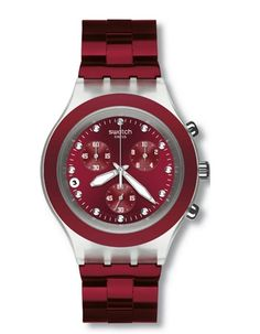 Swatch Full Blooded    Stylish and sophisticated, this functional chronograph (shown here in burgundy) features luminous-tipped hands and indexes and date window at 8 o'clock. Price: $160