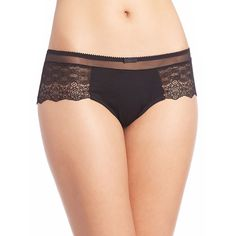 Addiction Nouvelle Lingerie Odieuse Scalloped Lace Shorty Brief (€56) ❤ liked on Polyvore featuring intimates, panties, apparel & accessories и black