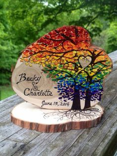 Rainbow Wedding cake topper Woodland Wedding Blossoming trees and heart - hand painted on natural wood slice - Wedding-Ideas - Wood Burning Crafts, Wood Crafts, Resin Crafts, Tree Wedding, Fall Wedding, Wedding Ideas, Wedding Pictures, Wedding Colors, Wedding Gifts