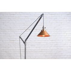 Modern Floor Lamp Industrial Floor Lamp Copper Shade Edison Bulb... ($225) ❤ liked on Polyvore featuring home, lighting, floor lamps, furniture, home & living, silver, pipe floor lamp, handmade lamps, onyx lamp and geometric lamp
