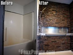 Faux stone showers are an impressive and affordable addition to designs.