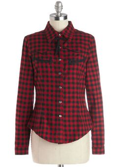 Everybody Now Top - Cotton, Woven, Mid-length, Red, Black, Plaid, Buttons, Trim, Casual, Button Down, Long Sleeve, Winter, Collared