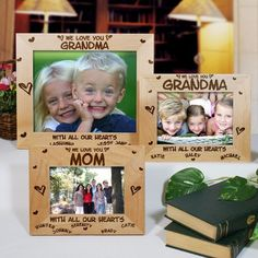 """#GrandparentsDay 8 x 10 All Our Hearts Personalized Grandma Picture Frames. Our personalized picture frame is a perfect personalized gift for Grandma, Mom or Nana. Our Personalized Family Picture Frame for Mom or Grandma is perfect for Mother's Day, Christmas & Grandparents Day. What better way to say We Love You than with a Personalized Grandma Picture Frame. Engraved Picture Frame for Mom measures 12 3/4"""" x 10 3/4"""" and holds a 10"""" x 8"""" photo."""