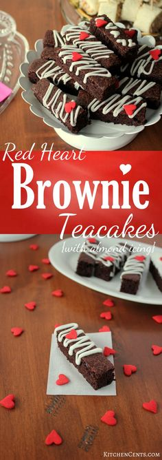 Red Heart Brownie Teacakes with almond icing | http://KitchenCents.com  With a delicious chocolate layer and drizzle of sweet creamy almond icing, these dainty Red Heart Brownie Teacakes are perfect for tea time or anytime.