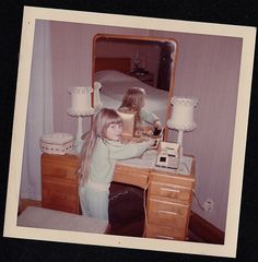 Vintage Photograph Adorable Blonde Girl Standing By Mirrored Vanity 1969