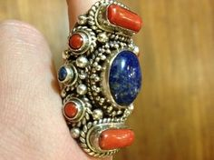 #Exotic #Antique #Lapis Lazuli & #Coral #Ring ($435.00). This is a true #fashion statement and is a one-of-a-kind piece. Size 8. http://www.floatinglotus.net/Ring-Lapis-Lazuli-Coral-lapicoring.htm