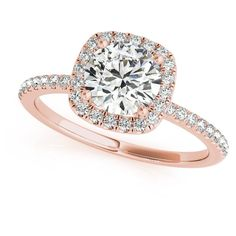 Allurez Square Halo Diamond Accented Engagement Ring in 14k Rose Gold... ($7,890) ❤ liked on Polyvore featuring jewelry, rings, rose gold, diamond accent rings, rose gold jewelry, pink rose ring, engagement rings and pink engagement rings