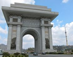 The Arch of Triumph in Pyongyang, North Korea Passport Stamps, North Korea, World Traveler, Brooklyn Bridge, Budget Travel, The Good Place, Tourism, Places To Visit, Vacation