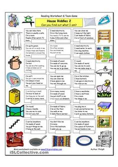 House Riddles 2 Medium worksheet Free ESL printable worksheets made by teachers Vocabulary List, English Vocabulary, English Grammar, English Games, English Activities, English Lessons, Learn English, Ingles Kids, English Exercises