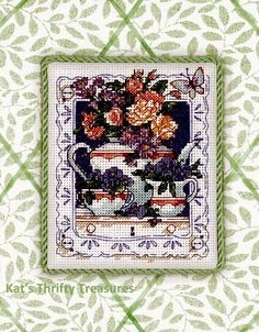 """Dimensions, Gold Nuggets Series """"Teatime Blossoms"""" Counted Cross Stitch Kit Number 35099. Finished Size - 8"""" x 10"""". #TeapotsandFlowers #CrossStitchKit  #DimensionsGoldNuggets"""