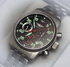 RUSSIAN-WATCHES.INFO - Russian mechanical chronograph watch PILOT BERKUT AVIATOR 31681 with stainless steel band