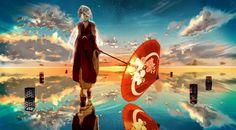 Anime - Vocaloid  - Girl - Dress - Umbrella - Sunset Wallpaper