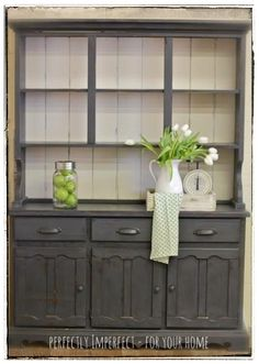 #anniesloan chalk painted hutch makeover #graphite with Old White back and distressed