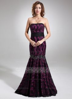 Evening Dresses - $152.49 - Mermaid Strapless Sweep Train Charmeuse Lace Evening Dress With Beading (017016745) http://jjshouse.com/Mermaid-Strapless-Sweep-Train-Charmeuse-Lace-Evening-Dress-With-Beading-017016745-g16745?ver=xdegc7h0