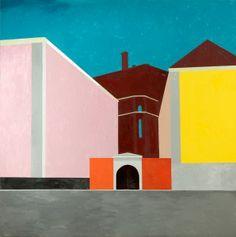 En esta obra Castillo vuelve su mirada hacia los espacios metafísicos de Giorgio de Chirico, si bien su mirada se traslada desde el sur hacia el norte, a la ciudad de Estocolmo. En este paisaje urbano tan diferente las arquitecturas clásicas, atemporales e icónicas conviven con volúmenes arquitectónicos radicalmente modernos, de formas geométricas limpias y depuradas. Modern Art, Painting, Geometric Form, De Chirico, Stockholm, Urban Landscape, Norte, Spaces, Castles
