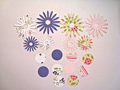 Floral Embellishments Daisies Flowers pink purple by Wcards, $1.50