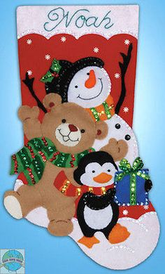 Design Works Snowman And Penguin Christmas Stocking - Felt Applique Kit. This Felt Applique Kit Includes: Acrylic Felt, Cotton Embroidery Floss, Stock Felt Stocking Kit, Felt Christmas Stockings, Christmas Stocking Pattern, Stocking Tree, Handmade Christmas, Christmas Crafts, Christmas Ornaments, Christmas Holiday, Long Holiday