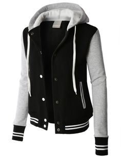 PREMIUM Womens Contrast Sleeve Fleece Varsity Baseball Hoodie Jacket, You can collect images you discovered organize them, add your own ideas to your collections and share with other people. Hoodie Sweatshirts, Hoodies, Fleece Hoodie, Diy Vetement, Slim Fit Jackets, Long Jackets For Women, Cute Jackets, Striped Jacket, Striped Knit