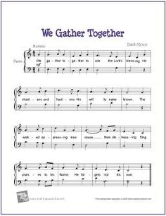 We Gather Together (Thanksgiving Hymn) | Free Sheet Music for Easy Piano