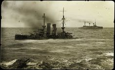 Sinking Russian warship. Tsushima. 1905
