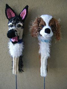 Custom doggy golf club covers.  A German Shepherd and King Charles Cavalier Spaniel!