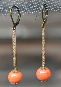 Vintage Upcycled Orange Glass Earrings by lilypickford on Etsy, $18.00