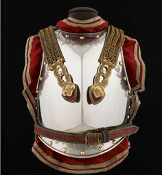 The armor of a senior officer cuirassier, a member of the the French heavy cavalry, 1812 as displayed in the Musée de l'Armée, France.