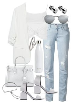 """""""Untitled #19899"""" by florencia95 ❤ liked on Polyvore featuring Paige Denim, Topshop, Zara, Ray-Ban, Yves Saint Laurent, Alexander Wang, S'well, Acne Studios and Monica Vinader"""