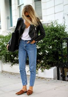 Mom jeans leather jacket and mules
