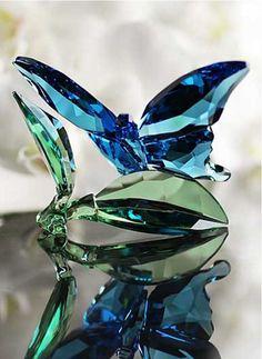 7a075a294 Butterfly on Leaves (2016) Swarovski Ornaments, Swarovski Crystal Figurines,  Swarovski Jewelry,
