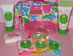 Lilly Pulitzer Estee Lauder Gift Set Lot All New Lilly Parfum Lotion EyeShadow #EsteLauderLillyPultizer