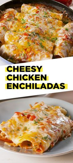 Need These Cheesy Chicken Enchiladas STAT These are the CHEESIEST chicken enchiladas you'll ever eat. Get the recipe at .These are the CHEESIEST chicken enchiladas you'll ever eat. Get the recipe at . Cheesy Chicken Enchiladas, Homemade Enchiladas, Chicken Enchilada Skillet, Chicken Enchilada Recipes, Cheesy Chicken Recipes, Chicken Breakfast Recipes, Best Enchiladas, Enchiladas Healthy, Chicken Enchilada Casserole