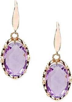 Tacori 18K925 Rose Amethyst Drop Earrings : Cotton-candy mingles with violet shades, romance with sophistication, on faceted oval-shaped Rose Amethysts. Surrounded by 18k rose gold fantasy-crescent frames, dazzling details create a delightfully feminine droplet style.