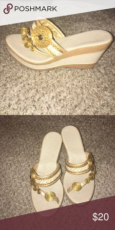 Gold Wedges Size 39 Gold Wedges with woven wedge heel beautiful handmade design Shoes Wedges