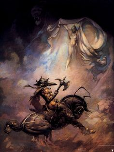 Unlettered cover art by Frank Frazetta for the novel ' The Moon Men' by Edgar Rice Burroughs. Description from pinterest.com. I searched for…