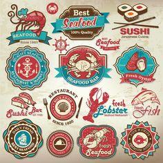 colección de etiquetas de restaurante de mariscos de grunge retro vintage, insignias y los iconos — Ilustración de stock #25281847