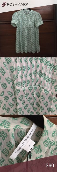Silk DvF green and white smocked blouse- NWT Silk DvF green and white floral print smocked blouse.  NWT, from a smoke free home. Diane von Furstenberg Tops Blouses